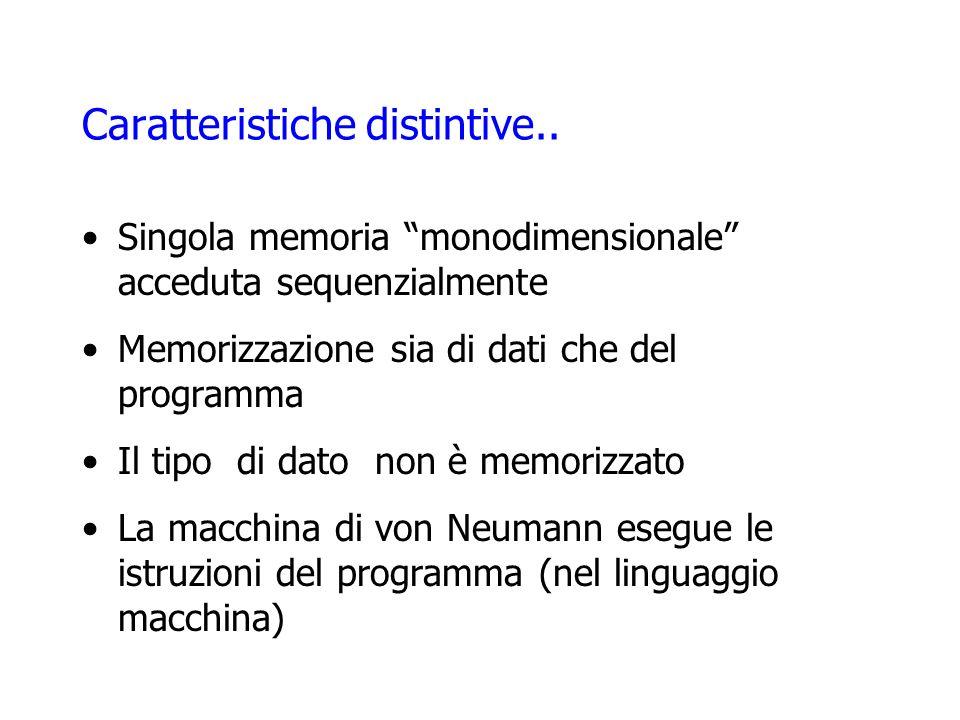 Caratteristiche distintive.. Singola memoria monodimensionale acceduta sequenzialmente Memorizzazione sia di dati che del programma Il tipo di dato no