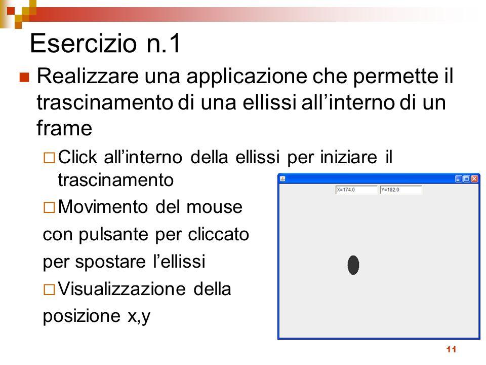 11 Esercizio n.1 Realizzare una applicazione che permette il trascinamento di una ellissi allinterno di un frame Click allinterno della ellissi per in