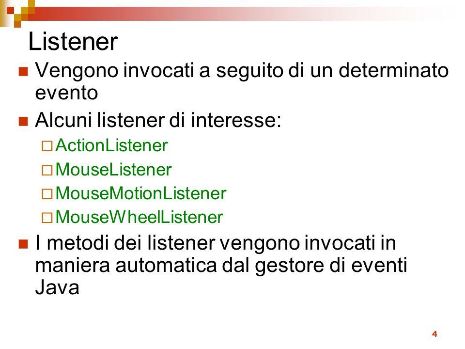 4 Listener Vengono invocati a seguito di un determinato evento Alcuni listener di interesse: ActionListener MouseListener MouseMotionListener MouseWhe