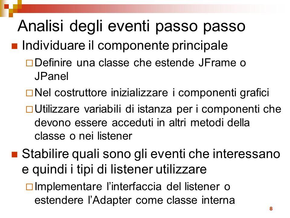 8 Analisi degli eventi passo passo Individuare il componente principale Definire una classe che estende JFrame o JPanel Nel costruttore inizializzare