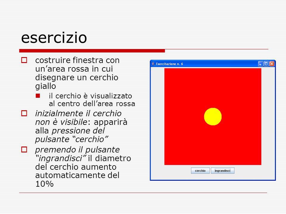 esercizio costruire finestra con unarea rossa in cui disegnare un cerchio giallo il cerchio è visualizzato al centro dellarea rossa inizialmente il ce