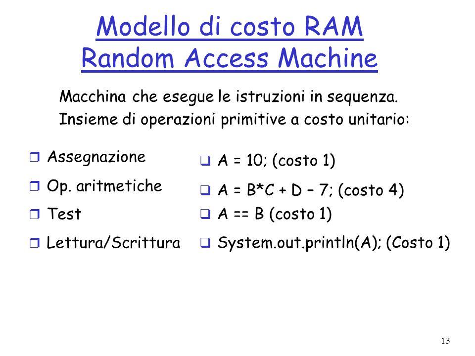 13 Modello di costo RAM Random Access Machine r Assegnazione r Op.