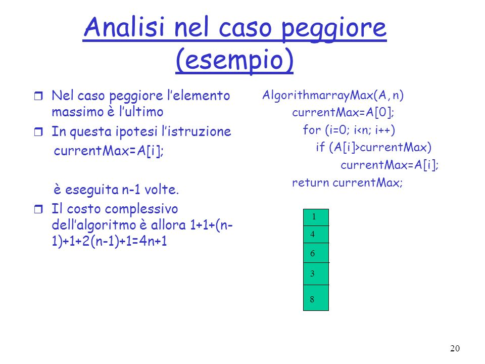 20 AlgorithmarrayMax(A, n) currentMax=A[0]; for (i=0; i<n; i++) if (A[i]>currentMax) currentMax=A[i]; return currentMax; Analisi nel caso peggiore (es