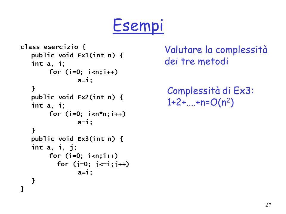 27 Esempi class esercizio { public void Ex1(int n) { int a, i; for (i=0; i<n;i++) a=i; } public void Ex2(int n) { int a, i; for (i=0; i<n*n;i++) a=i; } public void Ex3(int n) { int a, i, j; for (i=0; i<n;i++) for (j=0; j<=i;j++) a=i; } Valutare la complessità dei tre metodi Complessità di Ex3: 1+2+....+n=O(n 2 )