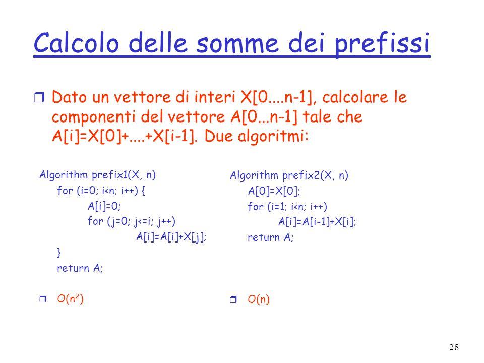 28 Calcolo delle somme dei prefissi r Dato un vettore di interi X[0....n-1], calcolare le componenti del vettore A[0...n-1] tale che A[i]=X[0]+....+X[i-1].