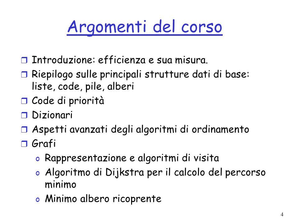 35 Equazioni di ricorrenza r Tempo di esecuzione di algoritmi ricorsivi descritti con equazioni di ricorrenza.