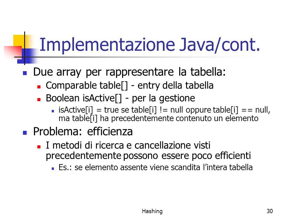 Hashing30 Implementazione Java/cont. Due array per rappresentare la tabella: Comparable table[] - entry della tabella Boolean isActive[] - per la gest