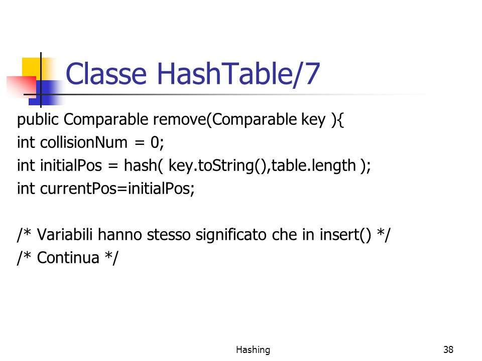 Hashing38 Classe HashTable/7 public Comparable remove(Comparable key ){ int collisionNum = 0; int initialPos = hash( key.toString(),table.length ); in