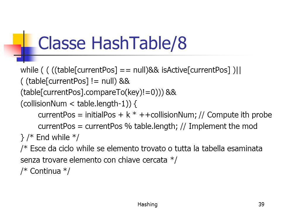 Hashing39 Classe HashTable/8 while ( ( ((table[currentPos] == null)&& isActive[currentPos] )|| ( (table[currentPos] != null) && (table[currentPos].compareTo(key)!=0))) && (collisionNum < table.length-1)) { currentPos = initialPos + k * ++collisionNum; // Compute ith probe currentPos = currentPos % table.length; // Implement the mod } /* End while */ /* Esce da ciclo while se elemento trovato o tutta la tabella esaminata senza trovare elemento con chiave cercata */ /* Continua */