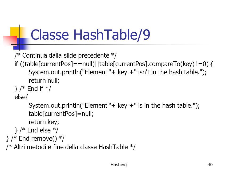 Hashing40 Classe HashTable/9 /* Continua dalla slide precedente */ if ((table[currentPos]==null)||table[currentPos].compareTo(key) !=0) { System.out.println( Element + key + isn t in the hash table. ); return null; } /* End if */ else{ System.out.println( Element + key + is in the hash table. ); table[currentPos]=null; return key; } /* End else */ } /* End remove() */ /* Altri metodi e fine della classe HashTable */