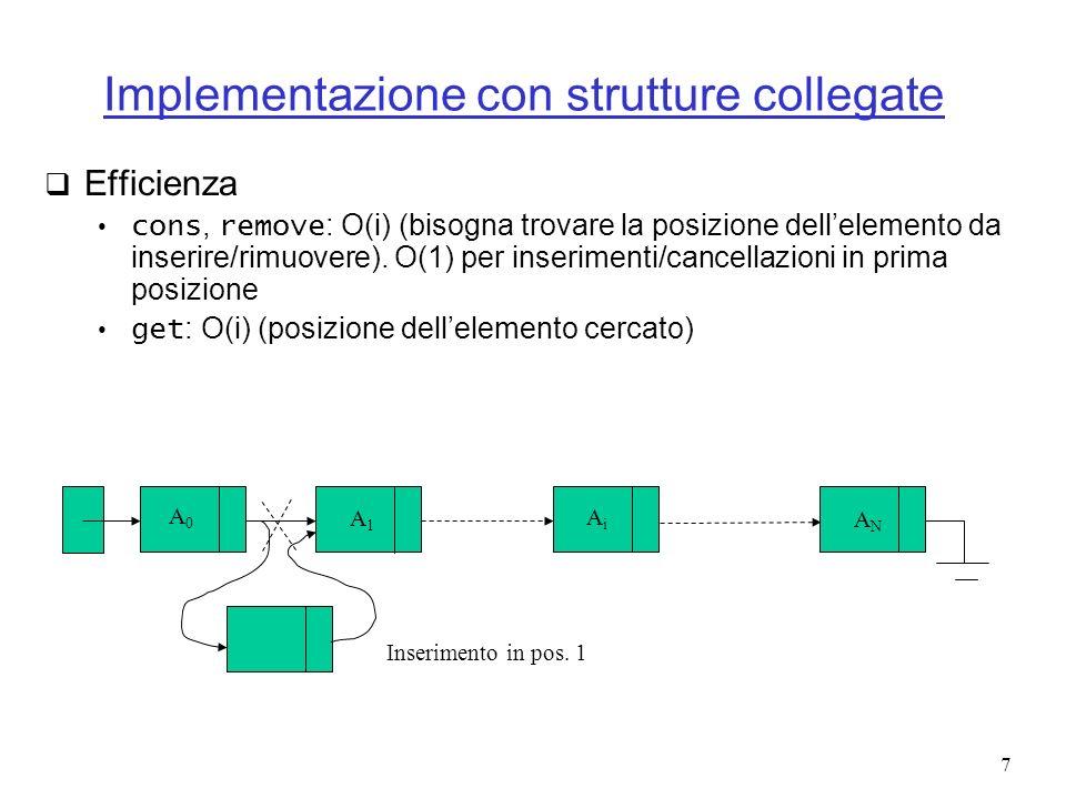 38 Algoritmo (caso generale) Usa uno stack Se arriva (, [ o { inseriscila nello stack Se arriva ), ] o } confrontala con lelemento affiorante Se non corrispondono allora la stringa non è bilanciata Se si esamina la stringa fino alla fine e lo stack non è vuoto la stringa non è bilanciata.