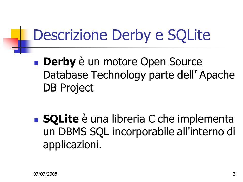 07/07/20083 Descrizione Derby e SQLite Derby è un motore Open Source Database Technology parte dell Apache DB Project SQLite è una libreria C che implementa un DBMS SQL incorporabile all interno di applicazioni.