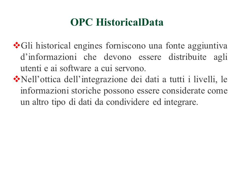 Gli historical engines forniscono una fonte aggiuntiva dinformazioni che devono essere distribuite agli utenti e ai software a cui servono.