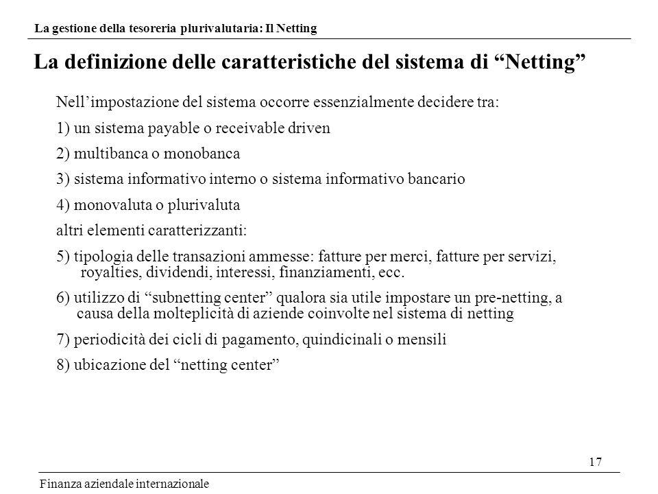 17 La definizione delle caratteristiche del sistema di Netting Finanza aziendale internazionale Nellimpostazione del sistema occorre essenzialmente de
