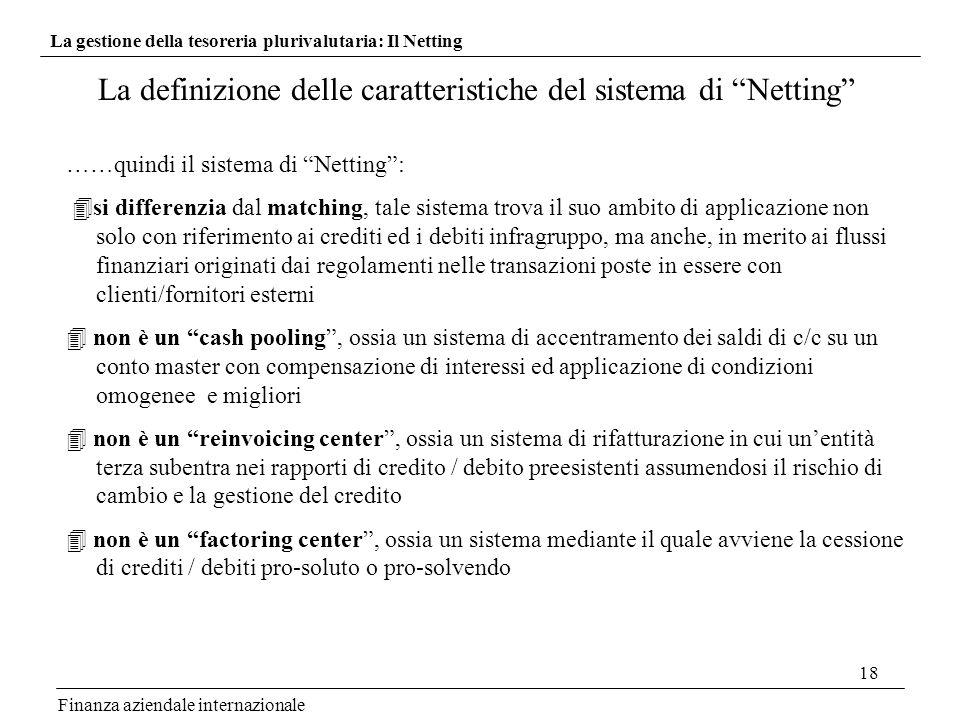 18 La definizione delle caratteristiche del sistema di Netting Finanza aziendale internazionale ……quindi il sistema di Netting: si differenzia dal mat