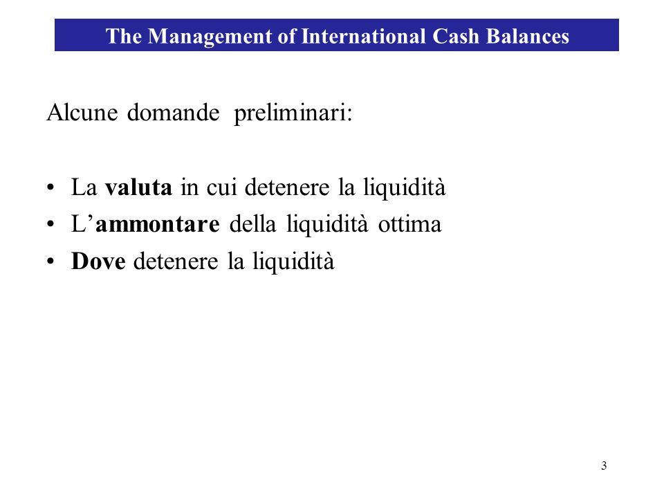 3 Alcune domande preliminari: La valuta in cui detenere la liquidità Lammontare della liquidità ottima Dove detenere la liquidità The Management of In
