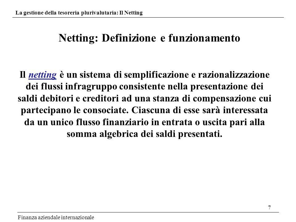 7 Netting: Definizione e funzionamento La gestione della tesoreria plurivalutaria: Il Netting Il netting è un sistema di semplificazione e razionalizz