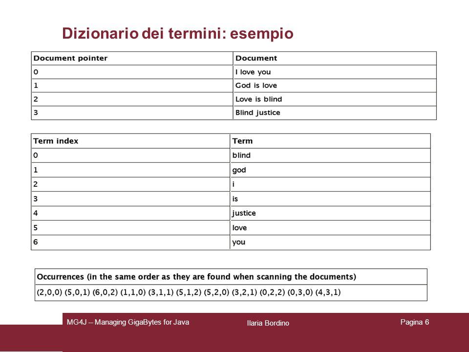 Ilaria Bordino MG4J -- Managing GigaBytes for JavaPagina 6 Dizionario dei termini: esempio