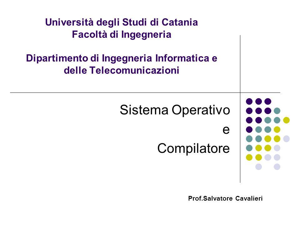 Università degli Studi di Catania Facoltà di Ingegneria Dipartimento di Ingegneria Informatica e delle Telecomunicazioni Sistema Operativo e Compilato