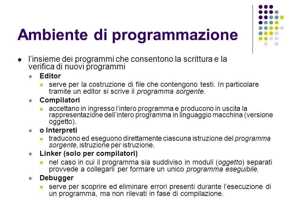 Ambiente di programmazione linsieme dei programmi che consentono la scrittura e la verifica di nuovi programmi Editor serve per la costruzione di file