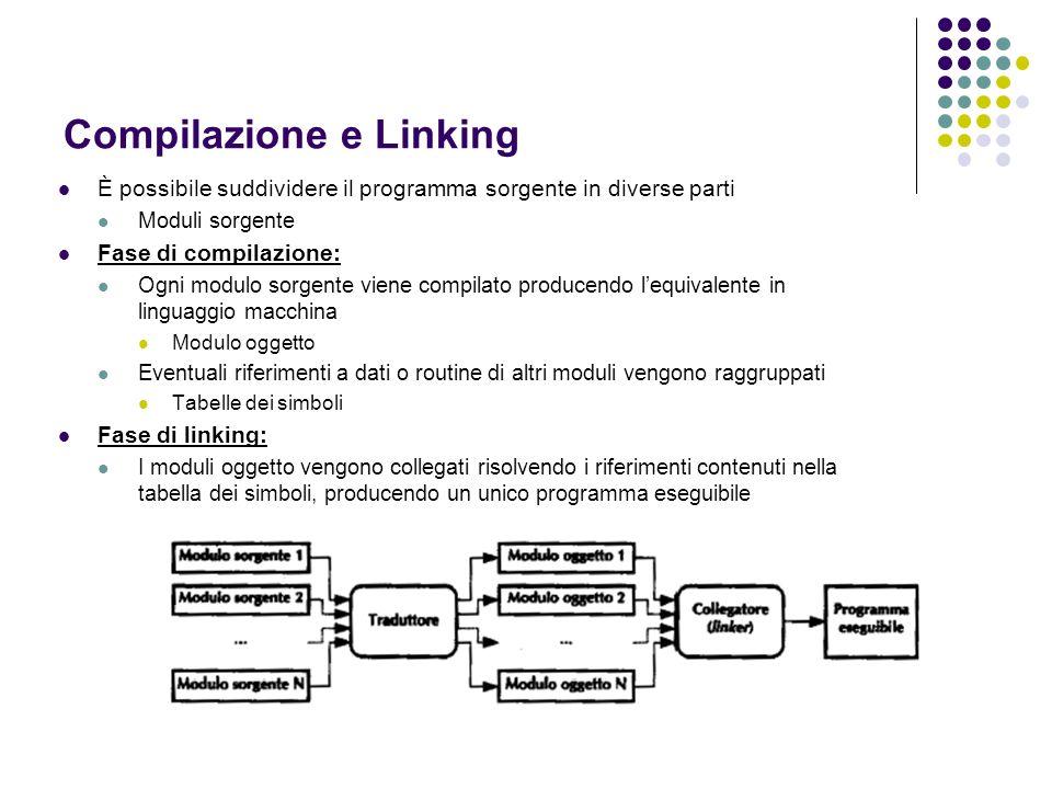 Compilazione e Linking È possibile suddividere il programma sorgente in diverse parti Moduli sorgente Fase di compilazione: Ogni modulo sorgente viene
