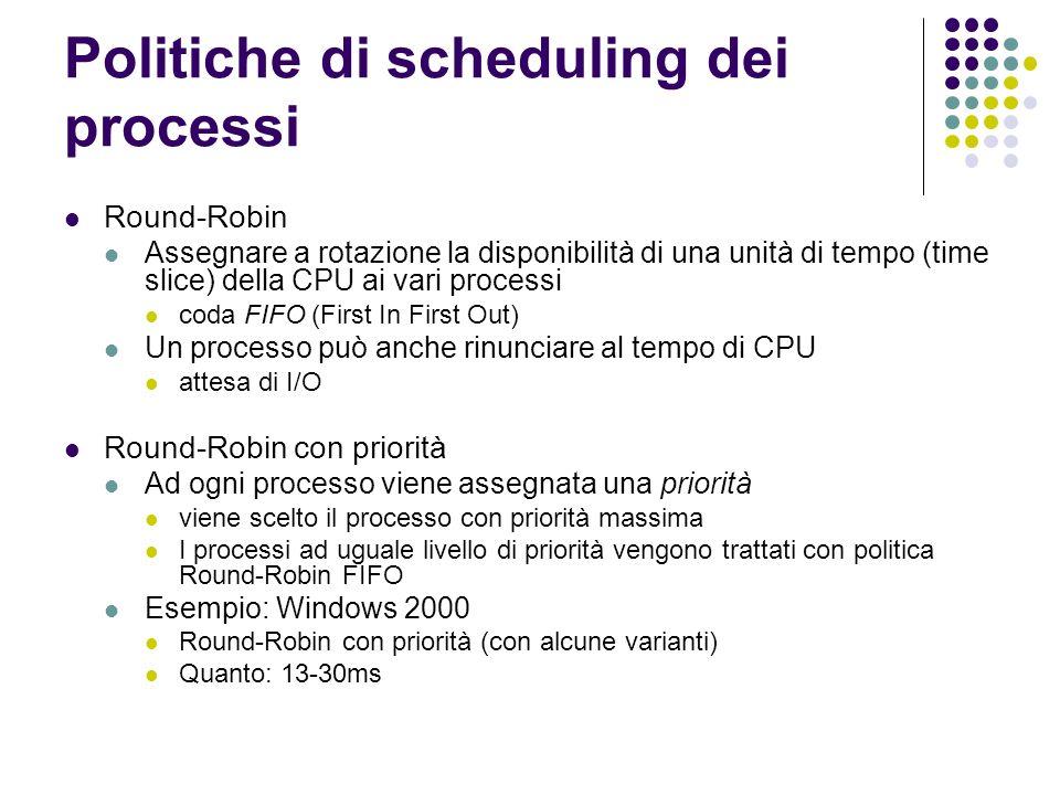 Politiche di scheduling dei processi Round-Robin Assegnare a rotazione la disponibilità di una unità di tempo (time slice) della CPU ai vari processi