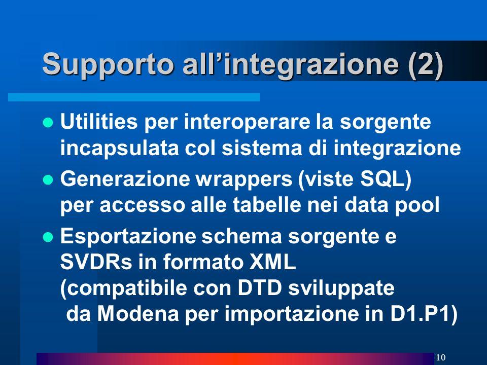 10 Supporto allintegrazione (2) Utilities per interoperare la sorgente incapsulata col sistema di integrazione Generazione wrappers (viste SQL) per accesso alle tabelle nei data pool Esportazione schema sorgente e SVDRs in formato XML (compatibile con DTD sviluppate da Modena per importazione in D1.P1)