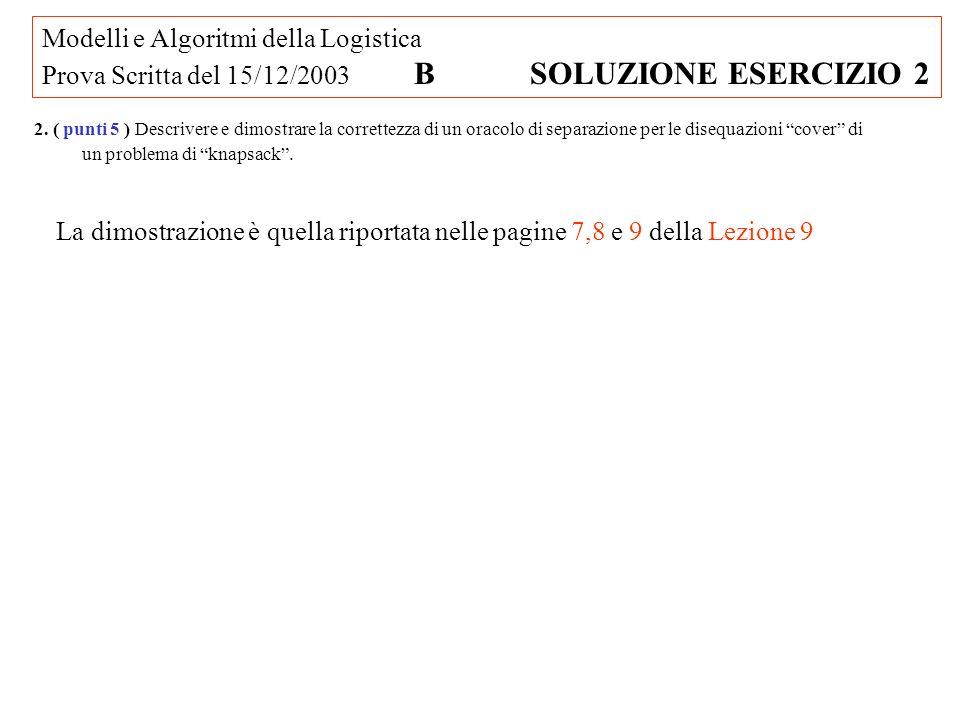 Modelli e Algoritmi della Logistica Prova Scritta del 15/12/2003 B SOLUZIONE ESERCIZIO 2 2.