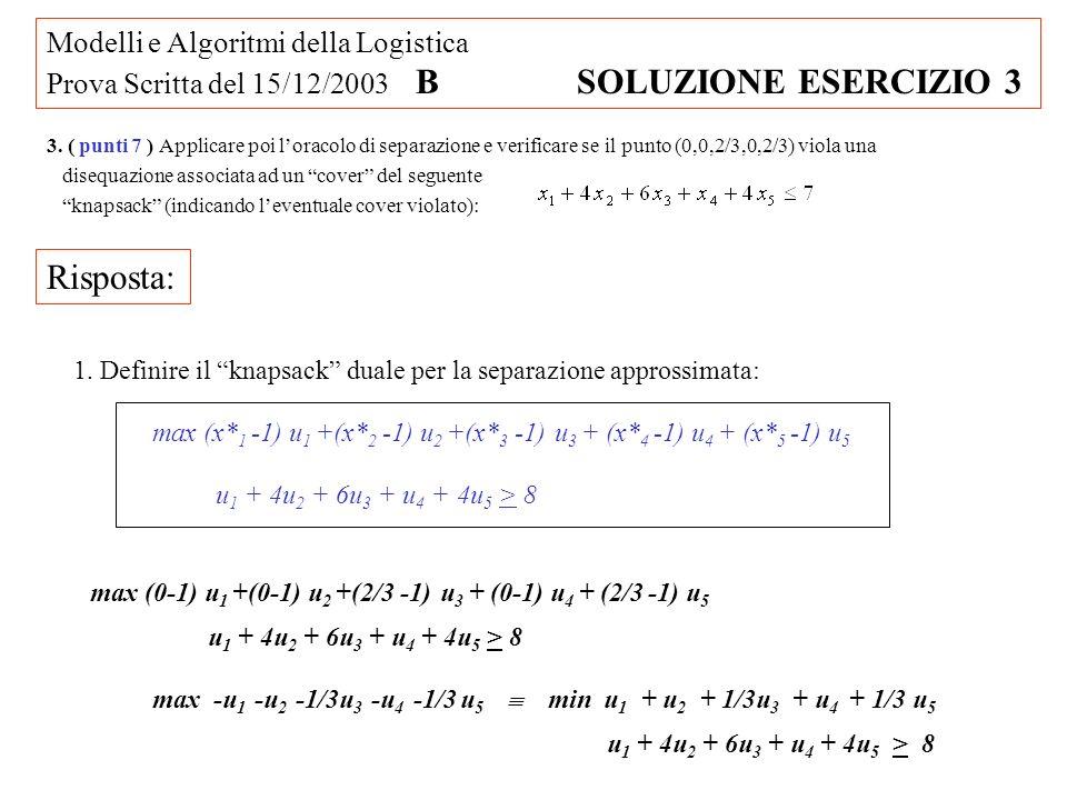 Modelli e Algoritmi della Logistica Prova Scritta del 15/12/2003 B SOLUZIONE ESERCIZIO 3 3.