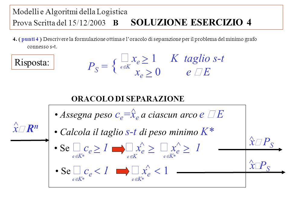 Modelli e Algoritmi della Logistica Prova Scritta del 15/12/2003 B SOLUZIONE ESERCIZIO 4 4.