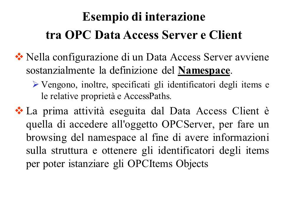 Nella configurazione di un Data Access Server avviene sostanzialmente la definizione del Namespace. Vengono, inoltre, specificati gli identificatori d