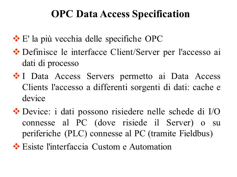 Data Access Specification definisce due concetti: Namespace Gerarchia di oggetti OPC Il Namespace mantiene le informazioni su tutti i dati disponibili sul server.