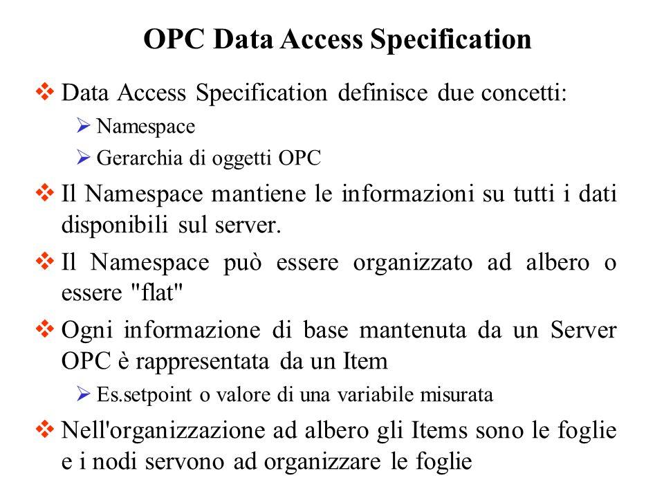 Data Access Specification definisce due concetti: Namespace Gerarchia di oggetti OPC Il Namespace mantiene le informazioni su tutti i dati disponibili