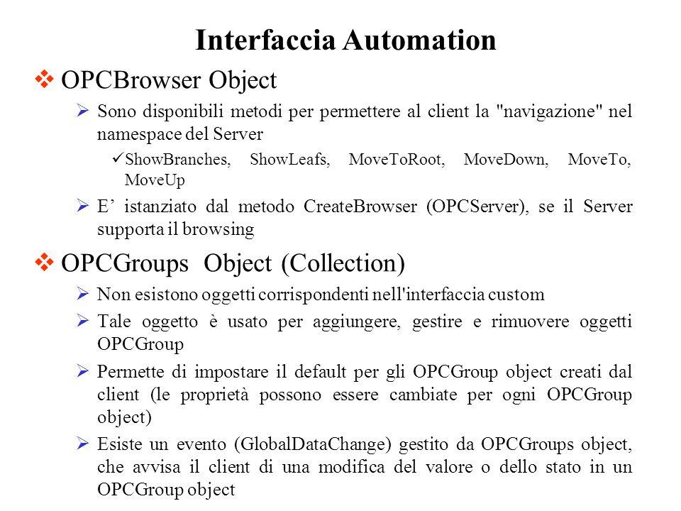 OPCBrowser Object Sono disponibili metodi per permettere al client la
