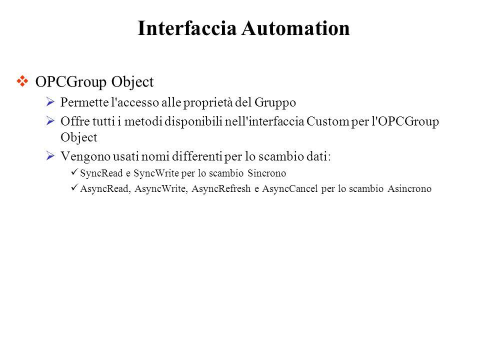 OPCGroup Object Permette l'accesso alle proprietà del Gruppo Offre tutti i metodi disponibili nell'interfaccia Custom per l'OPCGroup Object Vengono us