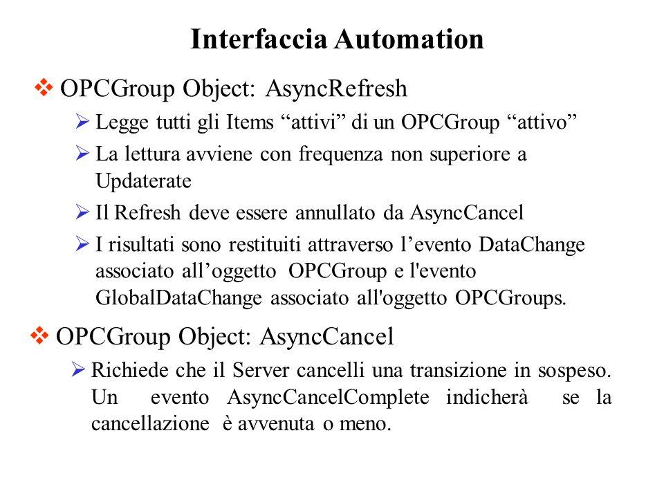 OPCGroup Object: AsyncRefresh Legge tutti gli Items attivi di un OPCGroup attivo La lettura avviene con frequenza non superiore a Updaterate Il Refres