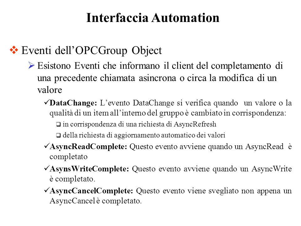 Eventi dellOPCGroup Object Esistono Eventi che informano il client del completamento di una precedente chiamata asincrona o circa la modifica di un va