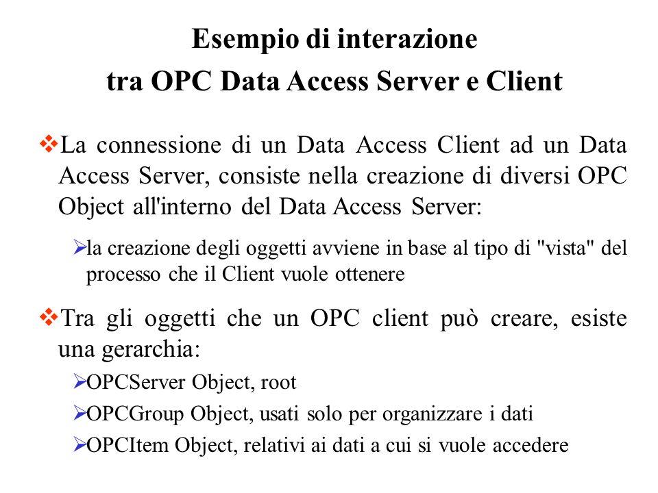 Esempio di interazione tra OPC Data Access Server e Client La connessione di un Data Access Client ad un Data Access Server, consiste nella creazione