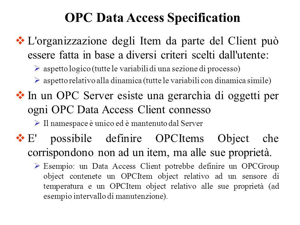 Per la creazione di un oggetto OPCItem, il Data Access Client specifica: Fully Qualified ItemId.