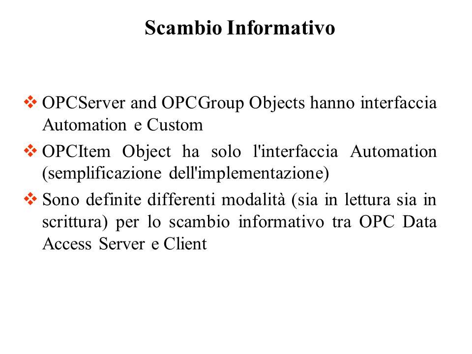 OPCGroup Object: AsyncRead Legge uno o più items di un gruppo.