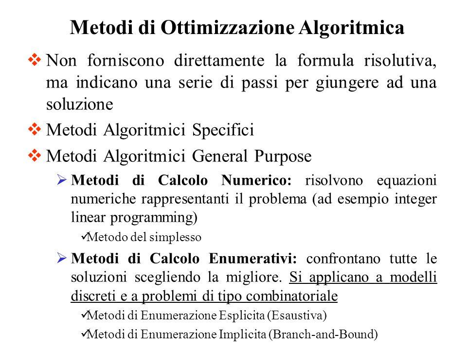 Non forniscono direttamente la formula risolutiva, ma indicano una serie di passi per giungere ad una soluzione Metodi Algoritmici Specifici Metodi Algoritmici General Purpose Metodi di Calcolo Numerico: risolvono equazioni numeriche rappresentanti il problema (ad esempio integer linear programming) Metodo del simplesso Metodi di Calcolo Enumerativi: confrontano tutte le soluzioni scegliendo la migliore.