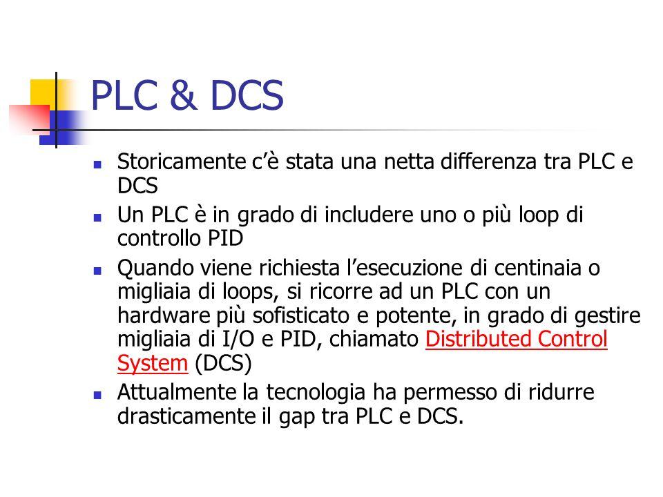 PLC & DCS Storicamente cè stata una netta differenza tra PLC e DCS Un PLC è in grado di includere uno o più loop di controllo PID Quando viene richies