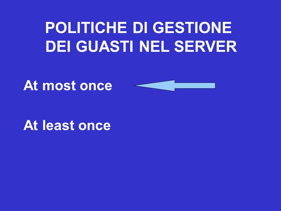 POLITICHE DI GESTIONE DEI GUASTI NEL SERVER At most once At least once