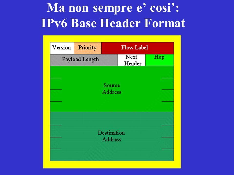 Ma non sempre e cosi: IPv6 Base Header Format