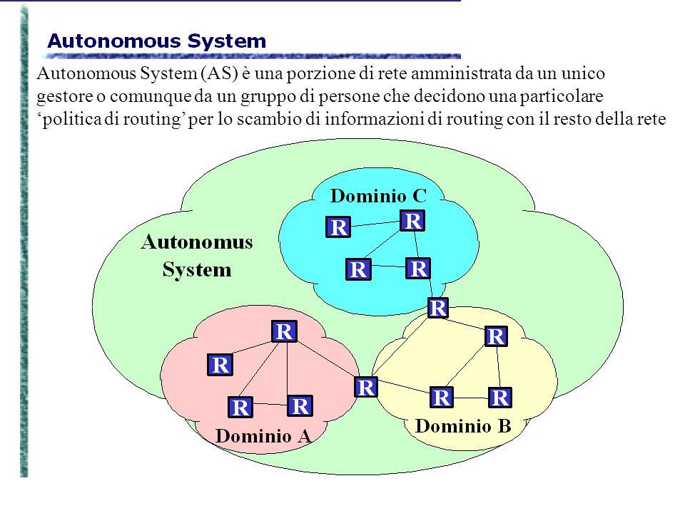 Autonomous System (AS) è una porzione di rete amministrata da un unico gestore o comunque da un gruppo di persone che decidono una particolare politic