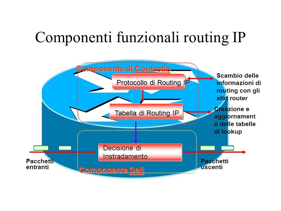 Componenti funzionali routing IP Componente Dati Protocollo di Routing IP Scambio delle informazioni di routing con gli altri router Componente di Con