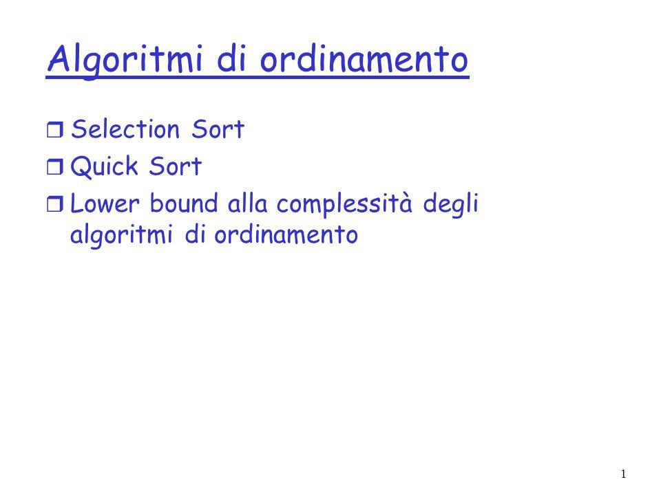 2 Selection Sort r Lelemento minimo viene messo in posizione 0 r Si itera il procedimento sulle posizioni successive SelectionSort(dati[]) { for (i=0; i<dati.length-1; i++) { min = <Scambia min con dati[i]; }