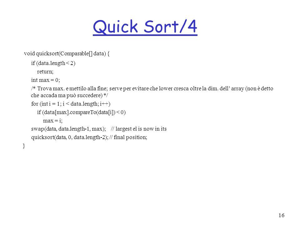 16 Quick Sort/4 void quicksort(Comparable[] data) { if (data.length < 2) return; int max = 0; /* Trova max. e mettilo alla fine; serve per evitare che