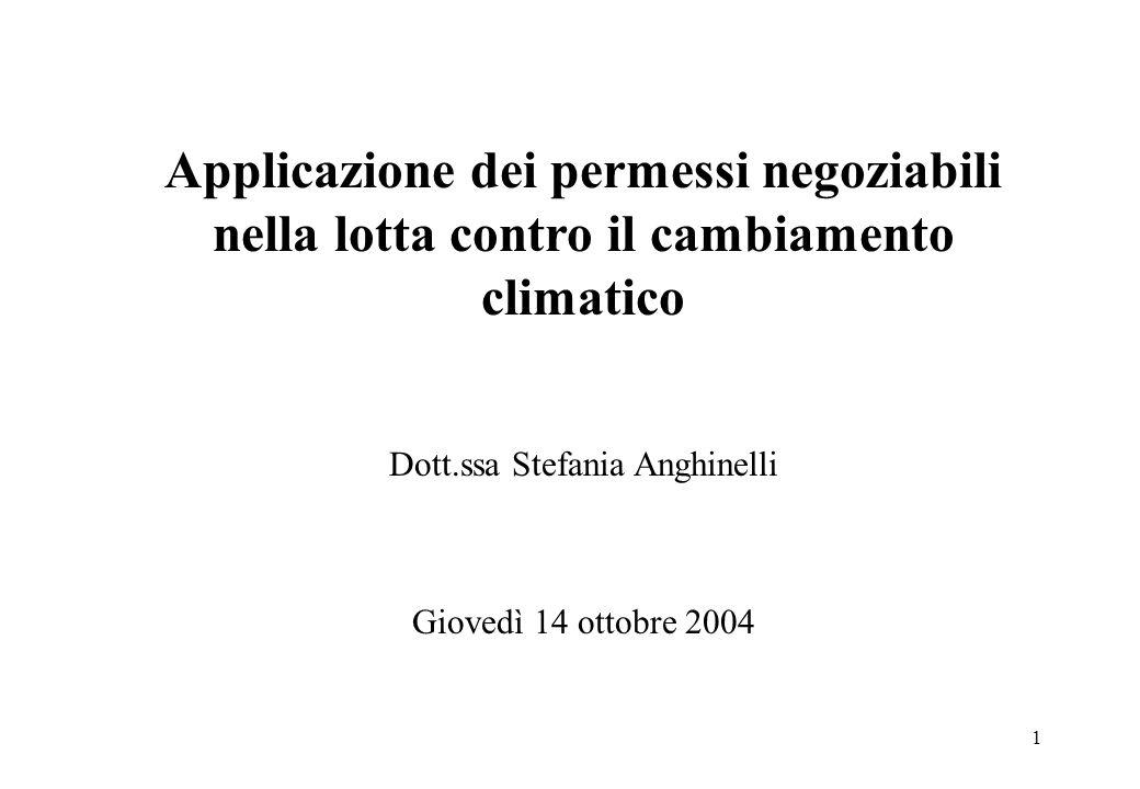 1 Applicazione dei permessi negoziabili nella lotta contro il cambiamento climatico Dott.ssa Stefania Anghinelli Giovedì 14 ottobre 2004