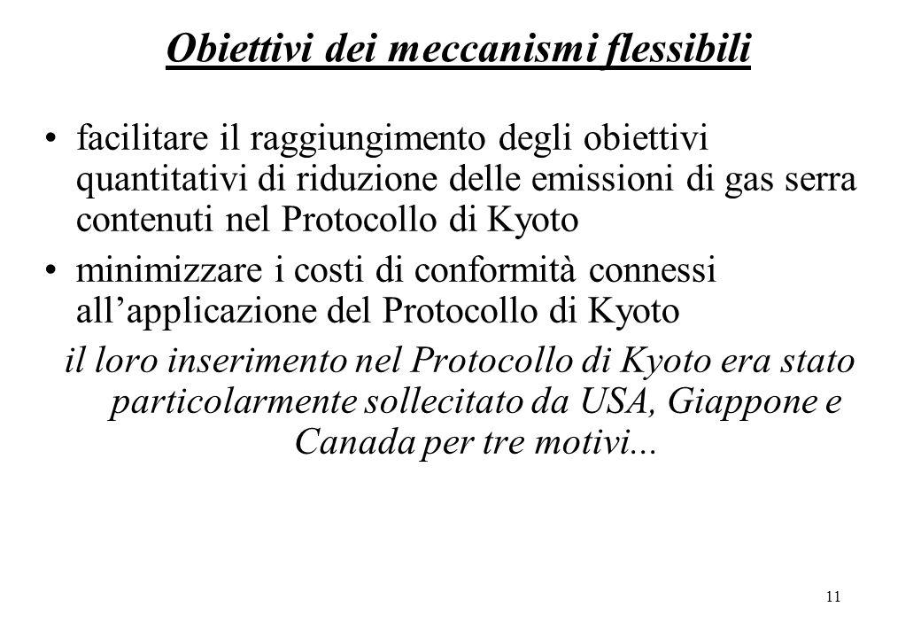11 Obiettivi dei meccanismi flessibili facilitare il raggiungimento degli obiettivi quantitativi di riduzione delle emissioni di gas serra contenuti nel Protocollo di Kyoto minimizzare i costi di conformità connessi allapplicazione del Protocollo di Kyoto il loro inserimento nel Protocollo di Kyoto era stato particolarmente sollecitato da USA, Giappone e Canada per tre motivi...